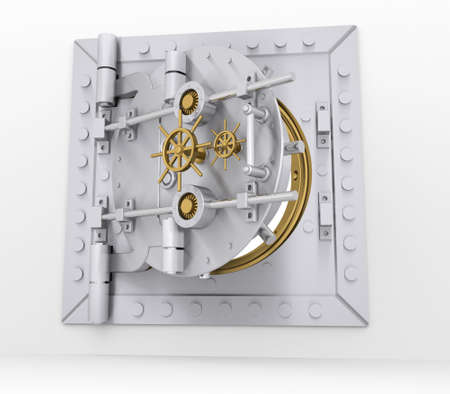 Bank vault door on a gray wall  3d render photo