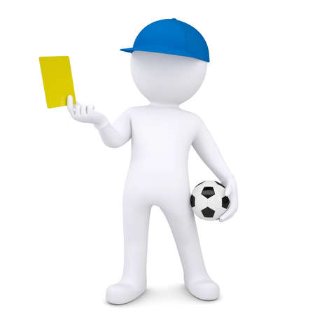 3d white man with soccer ball shows yellow card  Isolated render on a white background photo