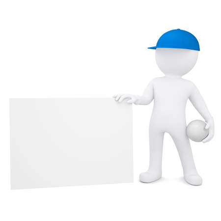3d white man with a volleyball ball holding empty business card  Isolated render on a white background photo