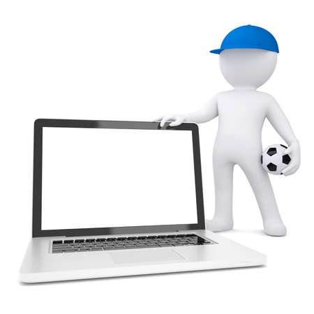 3d white man with soccer ball holding laptop  Isolated render on a white background photo