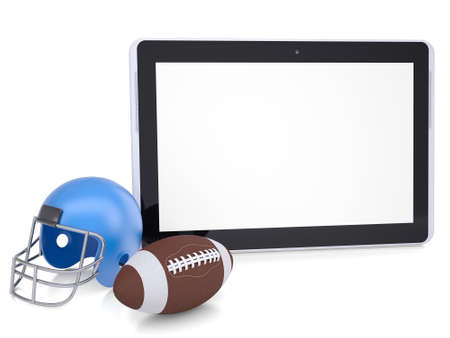 nfl helmet: Tablet PC, football helmet and ball  Isolated render on a white background Stock Photo