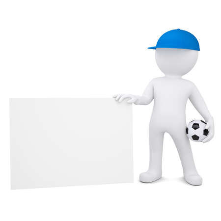 3d white man with soccer ball holding blank business card  Isolated render on a white background photo