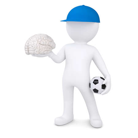 3d white man with soccer ball and the brain  Isolated render on a white background photo