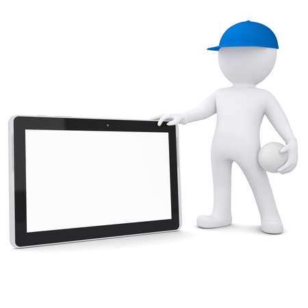 3d white man with a volleyball ball holding tablet pc  Isolated render on a white background photo