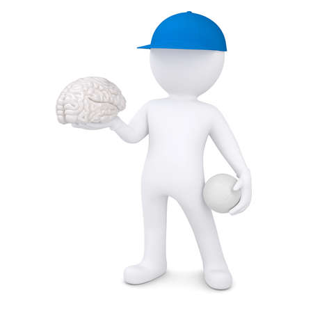 3d white man with a volleyball ball keeps the brain  Isolated render on a white background photo