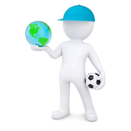 3d white man with soccer ball holding the Earth  Isolated render on a white background photo