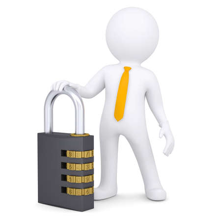 security lock: 3d white man with the combination lock  Isolated render on a white background Stock Photo