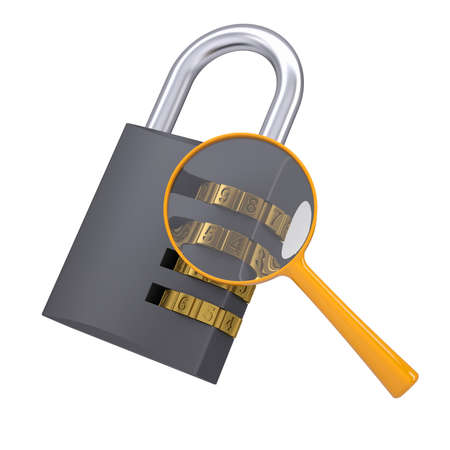 Analysis of security lock code  Isolated render on a white background photo