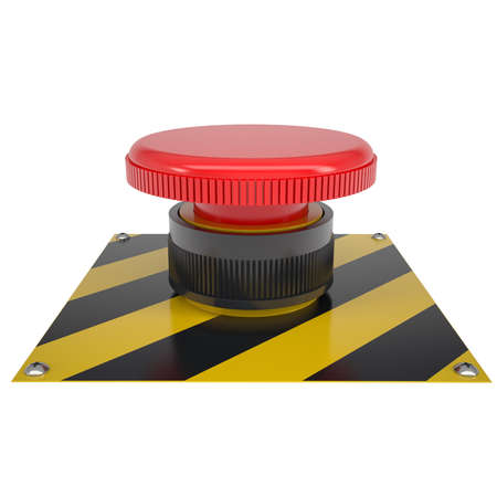 The red button on the base  Isolated render on a white background photo