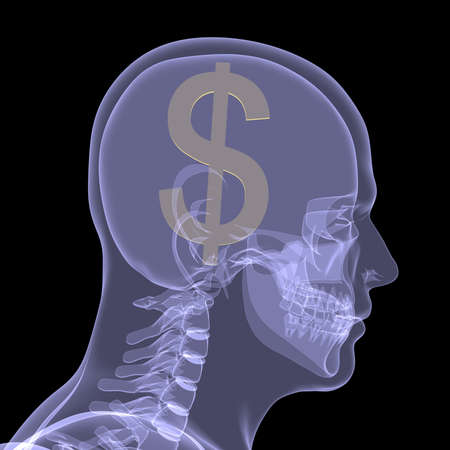 Gold dollar in head  X-ray render isolated on a black background photo