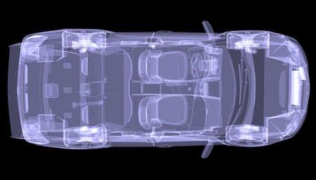 X-ray concept car isolato rendering su sfondo nero