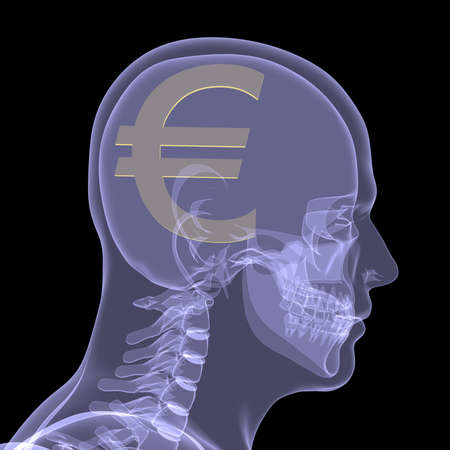 Gold euro in head  X-ray render isolated on a black background photo