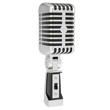 Vintage microphone  Isolated render on a white background photo