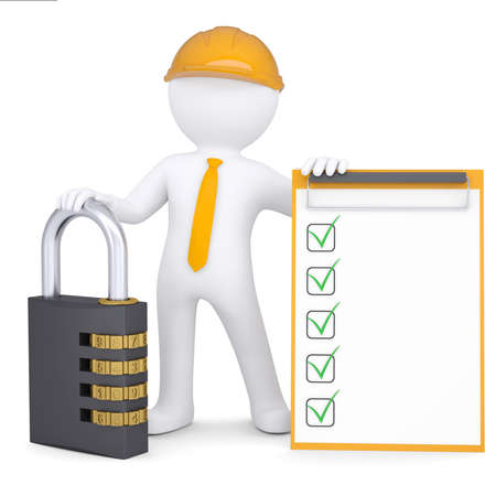 3d man in a helmet with the combination lock and checklist  Isolated render on a white background photo