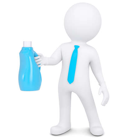 3d white man with a bottle of household chemicals Isolated render on a white background