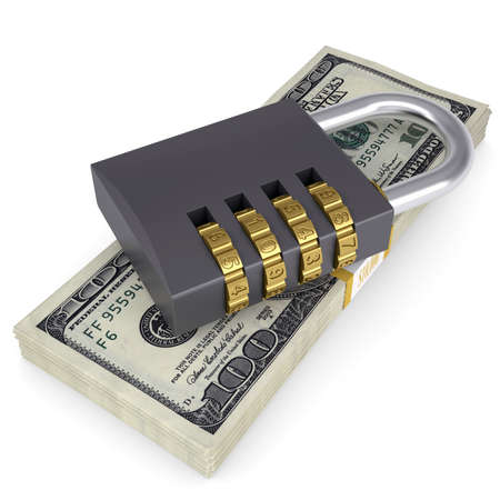 Combination lock on a pack of dollars  Isolated render on a white background photo
