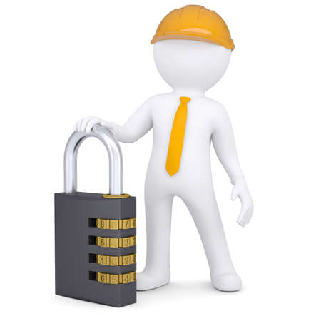 3d man in helmet with the combination lock  Isolated render on a white background photo