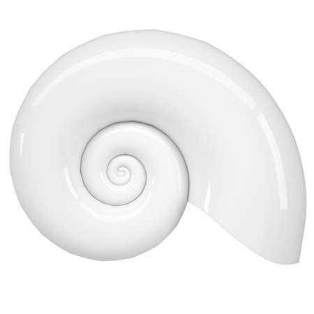 White spiral shell  Isolated render on a white background Stock Photo