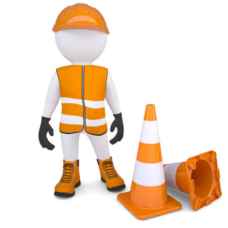 3d man in overalls beside traffic cones  Isolated render on a white background