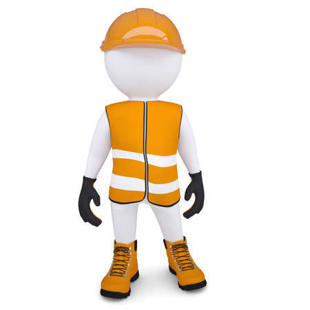 engineers: 3d white man in overalls  Isolated render on a white background