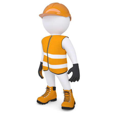 glove puppet: 3d white man in overalls  Isolated render on a white background