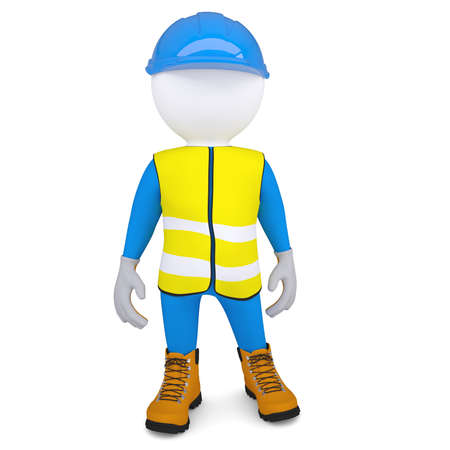 3d white man in overalls  Isolated render on a white background photo