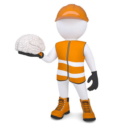 3d white man in overalls holding a brain  Isolated render on a white background