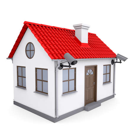 inspecting: A small house with security cameras  Isolated render on a white background