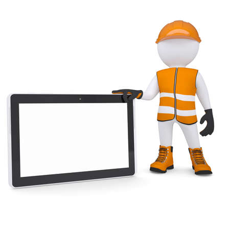 glove puppet: 3d white man in overalls holding a tablet PC  Isolated render on a white background