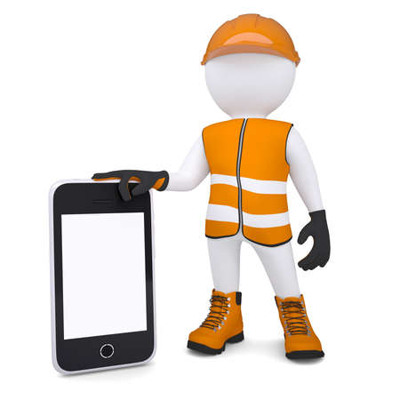 glove puppet: 3d white man in overalls holding a smartphone  Isolated render on a white background Stock Photo