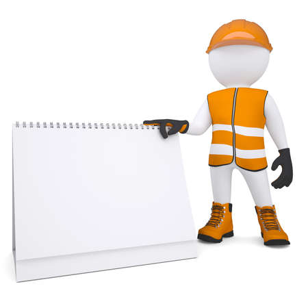 3d white man in overalls holding a calendar  Isolated render on a white background photo