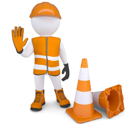 safety gloves: 3d man in overalls indicates that is impossible further  Isolated render on a white background Stock Photo