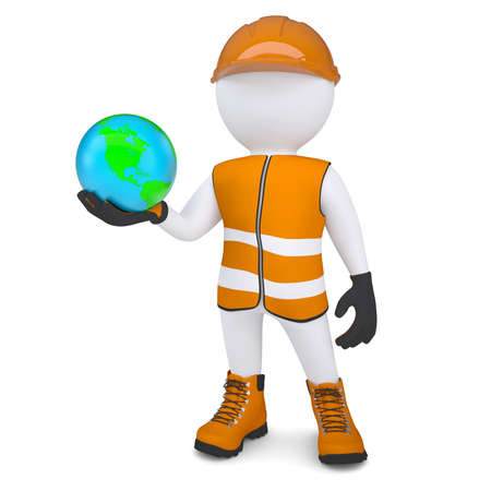 glove puppet: 3d white man in overalls holding the Earth  Isolated render on a white background