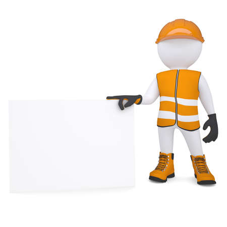 glove puppet: 3d white man in overalls holding a blank business card  Isolated render on a white background