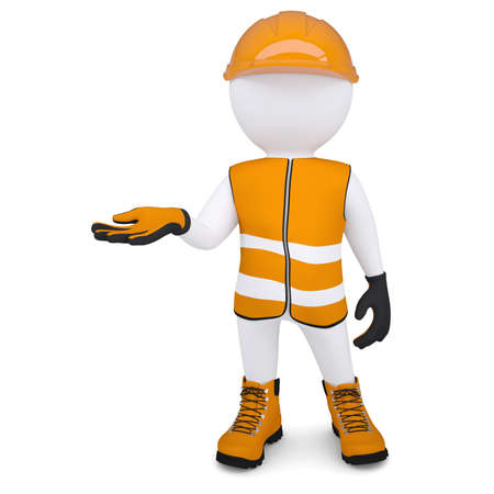 plead: 3d white man in overalls picked up an empty hand  Isolated render on a white background