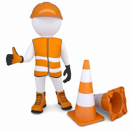 veiligheid bouw: 3D man in overall stak zijn duim omhoog geïsoleerd renderen op een witte achtergrond
