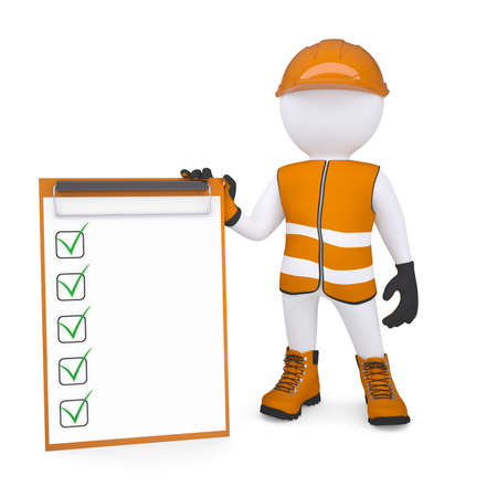glove puppet: 3d white man in overalls holding a checklist  Isolated render on a white background Stock Photo