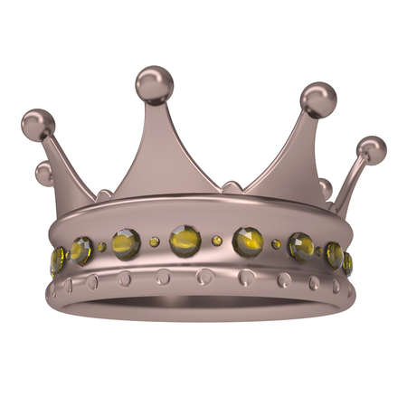 sapphires: Bronze crown decorated with yellow sapphires  Isolated render on a white background Stock Photo