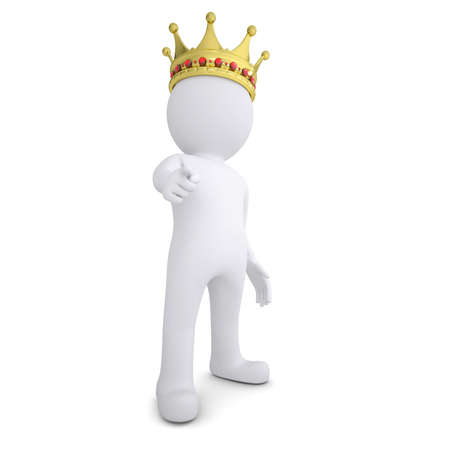 humanoid: 3d white man with the crown pointing the finger at the viewer  Isolated render on a white background Stock Photo