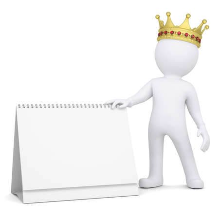 3d white man with a crown holding a desk calendar  Isolated render on a white background photo