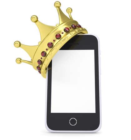 rey: Corona en el render aislado smartphone en un fondo blanco