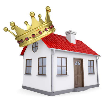 ruby house: A small house with a crown  Isolated render on a white background