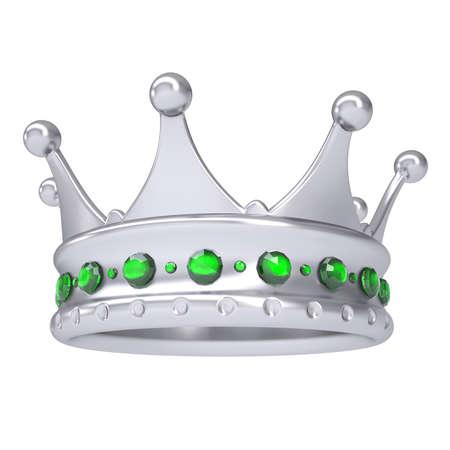 Silber Krone mit grünen Saphiren verziert machen Isoliert auf einem weißen Hintergrund Standard-Bild - 19972045