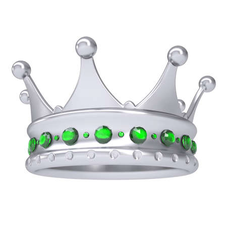 luxuriance: Silver crown decorated with green sapphires  Isolated render on a white background