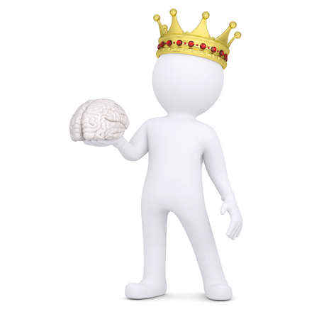 majesty: 3d white man with a crown keeps the brain  Isolated render on a white background
