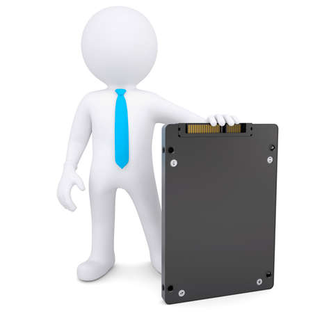 3d white man holding a solid state drive  Isolated render on a white background photo