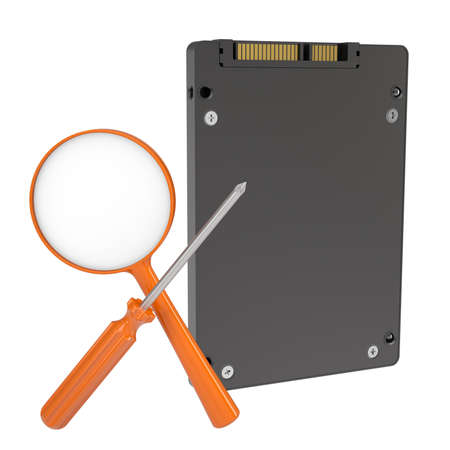 ssd: Solid-state drive, magnifying glass and screwdriver  Isolated render on a white background