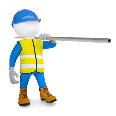 hi hat: Worker in overalls carries a pipe  Isolated render on a white background Stock Photo