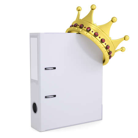 Crown on the office folder  Isolated render on a white background photo