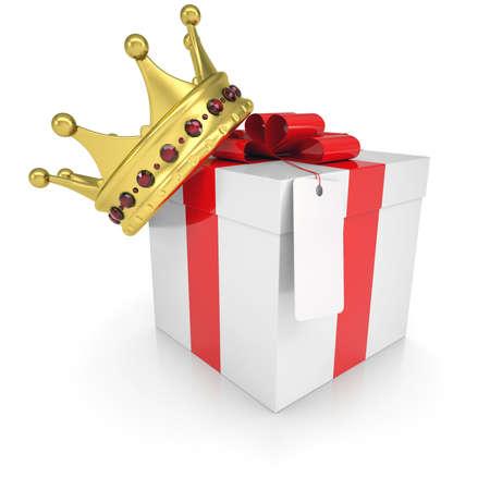 rey: Un regalo con un render aislado corona sobre un fondo blanco